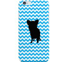 Baby Blue Chevron With Yorkie Silhouette iPhone Case/Skin