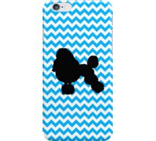 Baby Blue Chevron With Poodle Silhouette iPhone Case/Skin