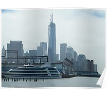 New World Trade Center, View from Christopher Street and Hudson River, New York City Poster
