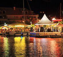 Marigot Marina at night, St. Martin by Roupen  Baker
