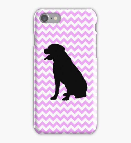 Pink Chevron With Lab Silhouette iPhone Case/Skin