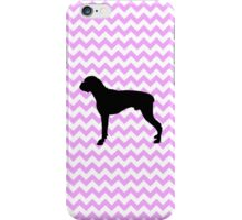 Pink Chevron With Boxer Silhouette iPhone Case/Skin