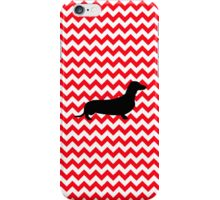 Fire Truck Red Chevron With Dachshund iPhone Case/Skin