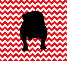 Fire Truck Red Chevron With English Bulldog by pjwuebker