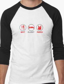 Eat Sleep Rock Men's Baseball ¾ T-Shirt