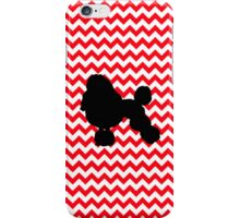 Fire Truck Red Chevron With Poodle iPhone Case/Skin