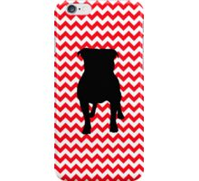Fire Truck Red Chevron With Pug Silhouette iPhone Case/Skin