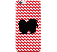 Fire Truck Red Chevron With Shih Tzu Silhouette iPhone Case/Skin