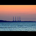 National Grid Power Plant Chimneys - Asharoken, New York  by  Sophie Smith