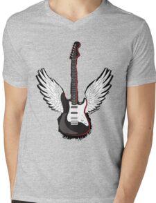 Winged Guitar Mens V-Neck T-Shirt