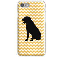 Pastel Orange Chevron With Labrador Retriever iPhone Case/Skin