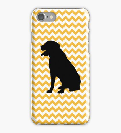Pastel Orange Chevron With Labrador Retriever iPhone Case/Skin