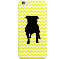 Lemon Yellow Chevron With Pug Silhouette iPhone Case/Skin