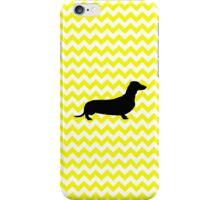 Lemon Yellow Chevron With Dachshund iPhone Case/Skin