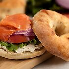 Bialy with Cream Cheese and Lox by Jerry Deutsch