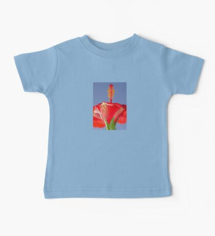 Tropical Red Hibiscus Flower Against Blue Sky Baby Tee