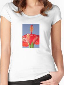 Tropical Red Hibiscus Flower Against Blue Sky Women's Fitted Scoop T-Shirt