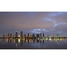 A Calm City at Night Photographic Print