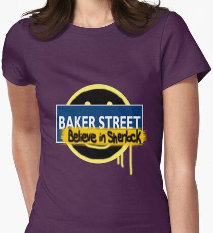 Believe in Sherlock London Underground Womens Fitted T-Shirt