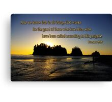sunset silhouettes with golden romans 8:28 Canvas Print