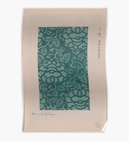 Donsu damask with light green peony arabesque 001 Poster