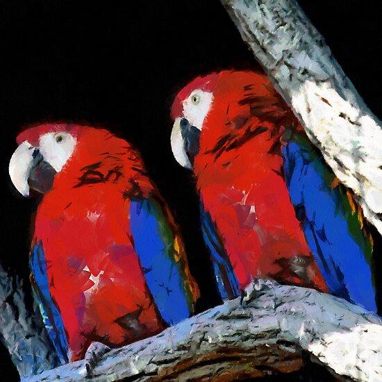Two parrots closeup painting by Magomed Magomedagaev