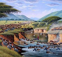 Animals crossing Maasai Mara River by Mutan