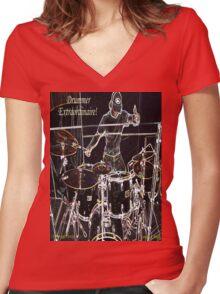 DRUMMER EXTRAORDINAIRE! Women's Fitted V-Neck T-Shirt