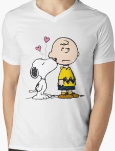 Snoopy and Charlie Mens V-Neck T-Shirt