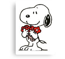 Snoopy Flowers Canvas Print