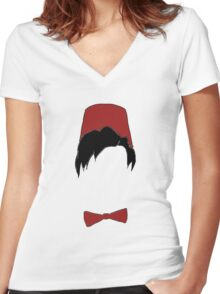 Eleventh doctor fez and bowtie Women's Fitted V-Neck T-Shirt