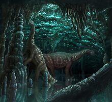 Bioluminescent dinosaur cave by Brian Engh