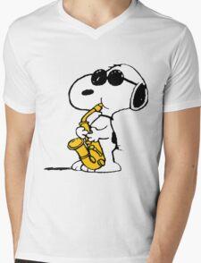 Snoopy Plays Sax Mens V-Neck T-Shirt