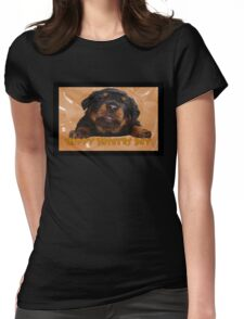 Cute Rottweiler Happy Fathers Day Greetings Womens Fitted T-Shirt