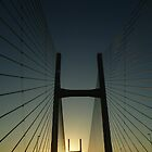 Crossing The Severn Bridge At Sunset, Cardiff, Wales by Vicki Spindler (VHS Photography)