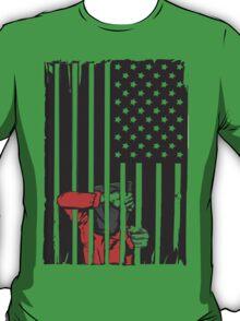 Guantanamo US Flag Political T-shirt. Prisoner behind bars. T-Shirt