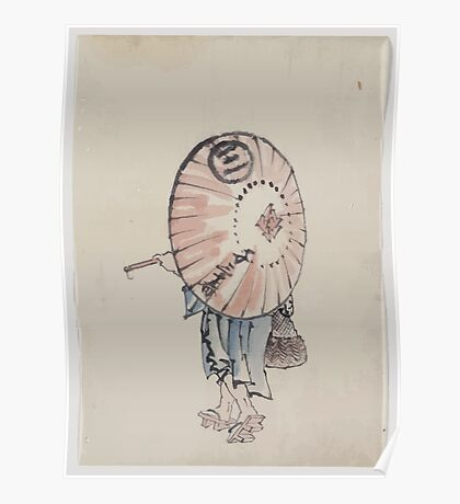 A person walking to the left mostly obscured by an open parasol carried over the shoulder wearing kimono and geta and carrying a bag in right hand 001 Poster