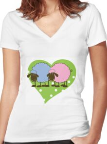 Sheep - Boy & Girl Women's Fitted V-Neck T-Shirt