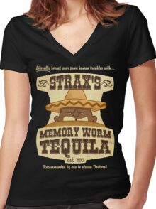 Strax's Memory Worm Tequila Women's Fitted V-Neck T-Shirt