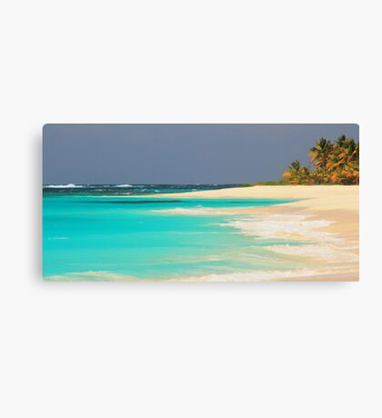 Turquoise Sea and Island Beach Canvas Print
