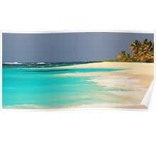 Turquoise Sea and Island Beach Poster