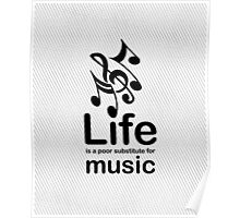 Music v Life - Black Poster