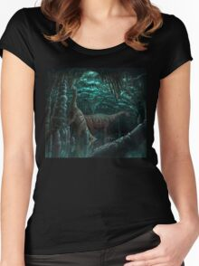 Bioluminescent dinosaur cave Women's Fitted Scoop T-Shirt