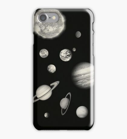 Black and White Solar System iPhone Case/Skin
