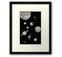 Black and White Solar System Framed Print