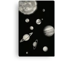 Black and White Solar System Canvas Print