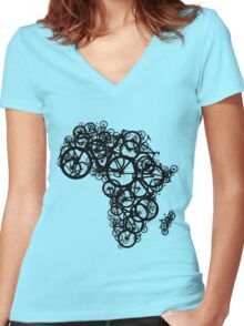 Africa T (Green) Women's Fitted V-Neck T-Shirt
