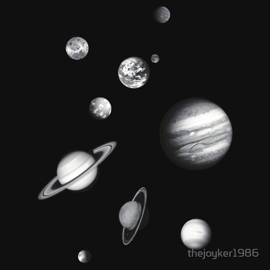 """Black and White Solar System"""" T-Shirts & Hoodies by thejoyker1986 ... Solar System Black And White Images"""
