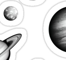 Black and White Solar System Sticker