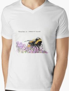 Bumble Bee browsing on astrantia flower Mens V-Neck T-Shirt